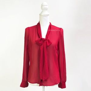 Red Hot Bow Button up Blouse | Small